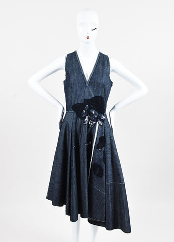 Bottega Veneta Blue Raw Denim Mesh Rhinestone Fringe Sleeveless Dress Front