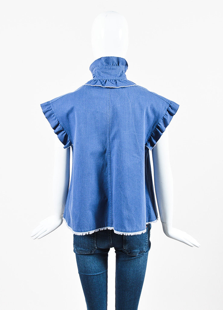 Chanel Blue Pink Cotton Denim Ruffle Frayed Edge Button Up A-Line Top Backview
