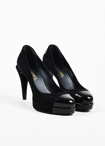 Chanel Black Suede and Patent Leather Cap Toe 'CC' Platform Pumps Frontview