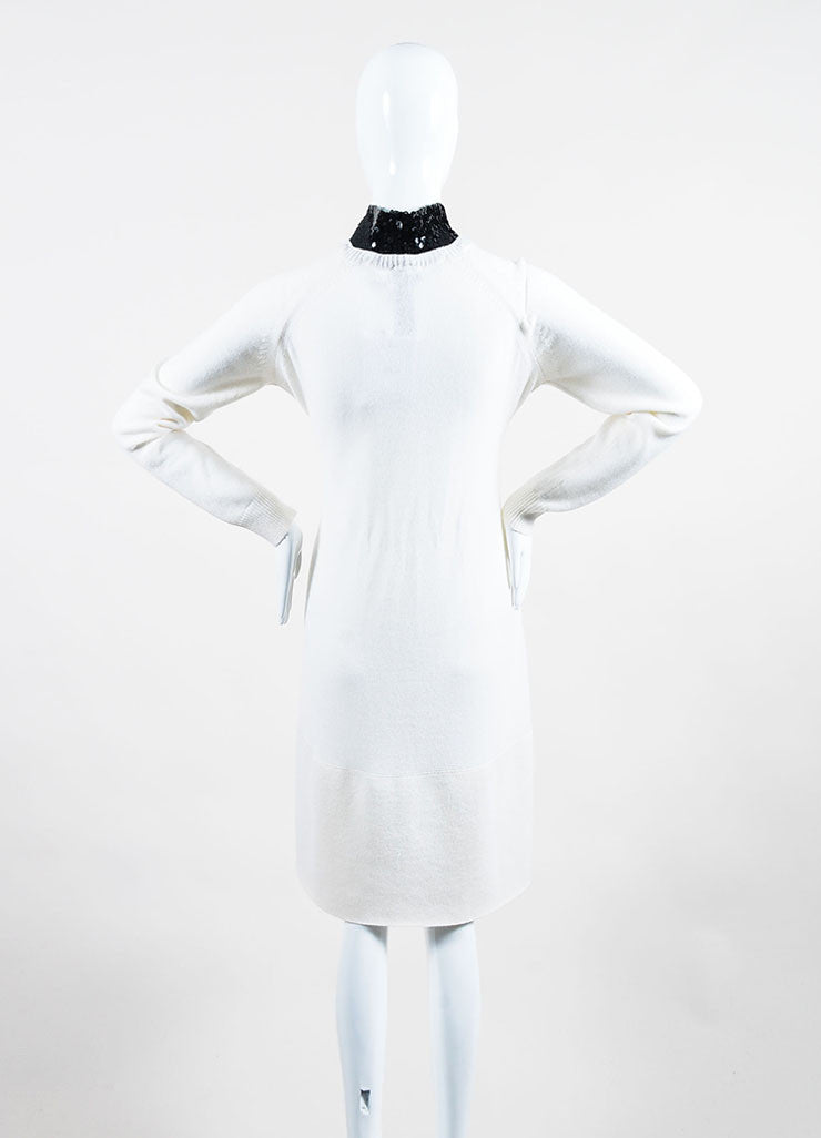 Cream and Black Christian Dior Cashmere Sequin Collar Sweater Dress Backview