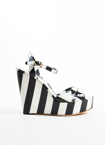 Dolce & Gabbana Black and White Patent Leather Wedge Sandals Sideview