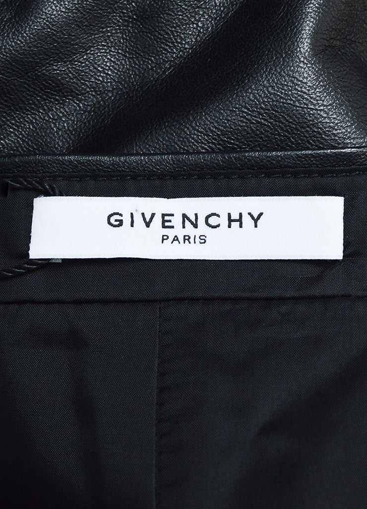 Givenchy Black Lambskin Leather Fit Flare Back Zip Mini Skirt Brand