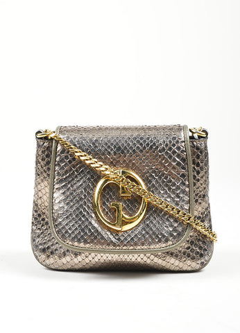"Gold Toned and Silver Metallic Python Leather Gucci ""1973"" Small Crossbody Bag Frontview"