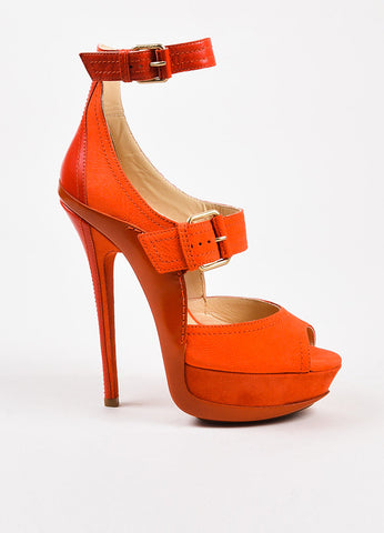 "Jimmy Choo Coral Red Mixed Leather Buckle ""Letitia"" Sandals Side"