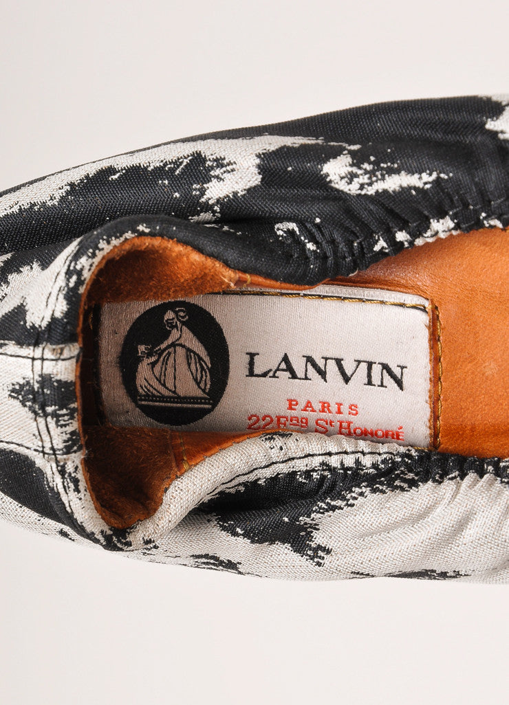 Lanvin Black and Grey Abstract Printed Bow Detail Canvas Ballet Flats Brand