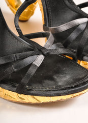 Louis Vuitton Black Satin and Gold Toned Foiled Strappy Cut Out Sandal Heels Detail