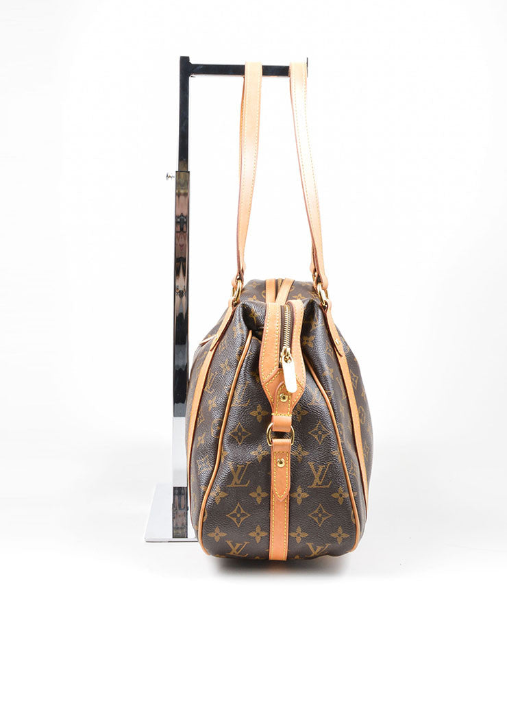 "Brown and Tan Louis Vuitton Coated Canvas and Leather Monogram ""Stresa GM"" Bag Sideview"