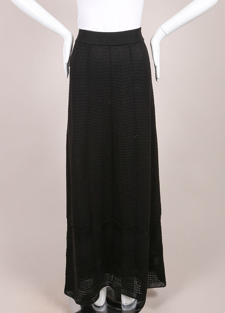 M Missoni Black Textured Wool Blend Knit Maxi Column Skirt Frontview