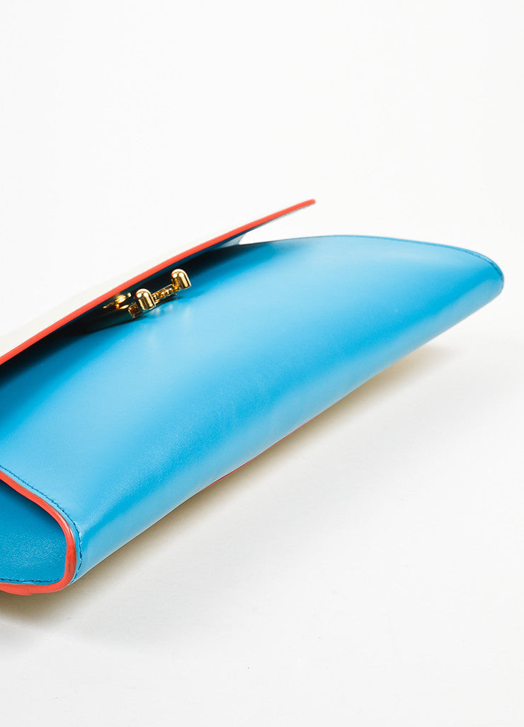 "Marni ""Vivid Blue Antic White"" Leather ""Origami"" Clutch Bag Bottom View"
