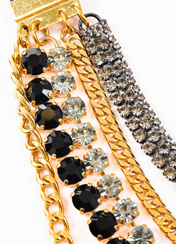 Marni Gold Toned and Black Crystal Layered Multi Strand Chain Necklace Detail