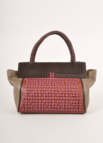 "Nada Sawaya New With Tags Brown and Purple Studded leather ""Mini Josy"" Satchel Bag Frontview"