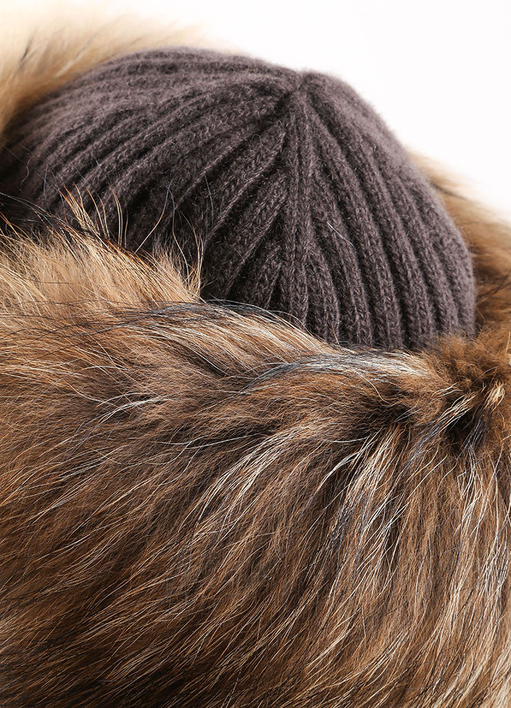 Prada Brown and Black Raccoon Fur, Wool, and Cashmere Knit Cossak Cappello Hat Detail