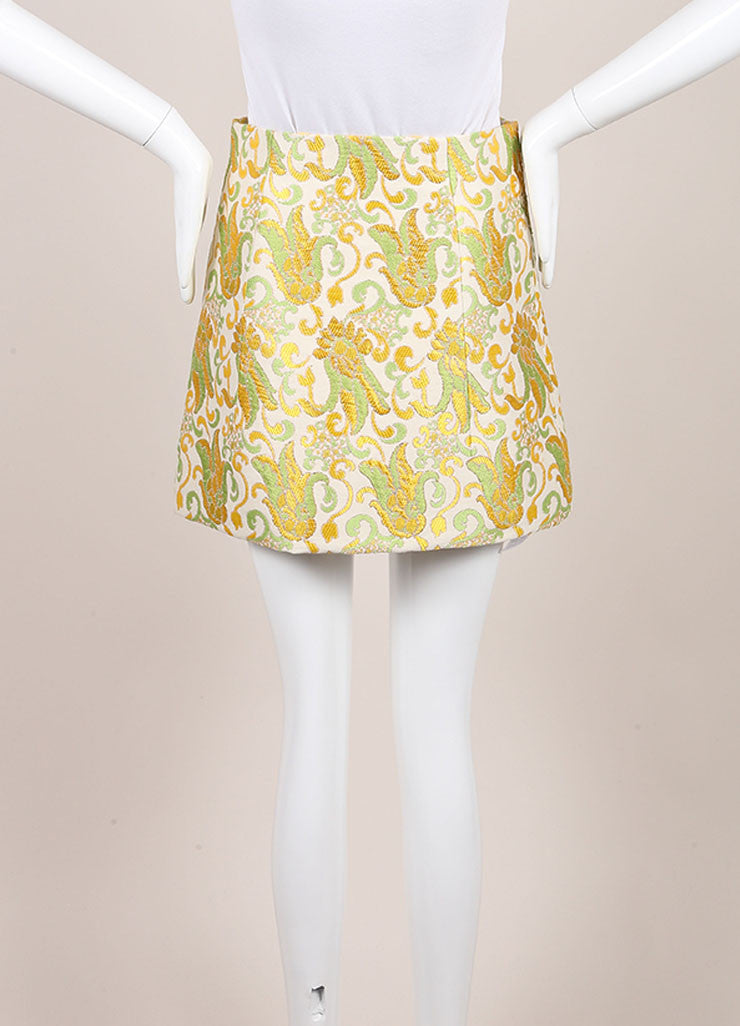 Prada Cream, Green, and Yellow Cotton and Silk Brocade Short A Line Skirt Backview