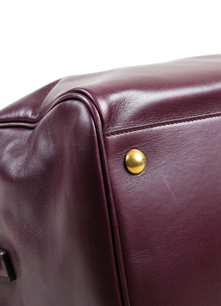 "Burgundy Leather Saint Laurent ""Classic Duffle 12"" Satchel Bag Detail"