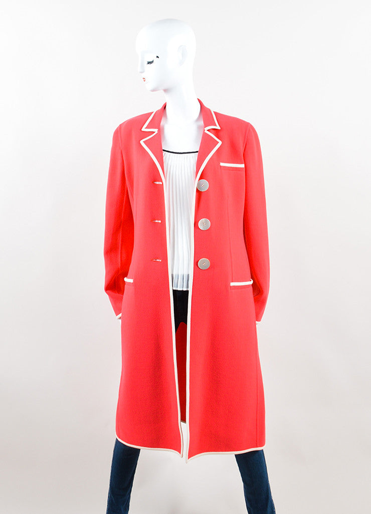 Valentino Coral Pink Cream Wool Button Up Long Overcoat Front