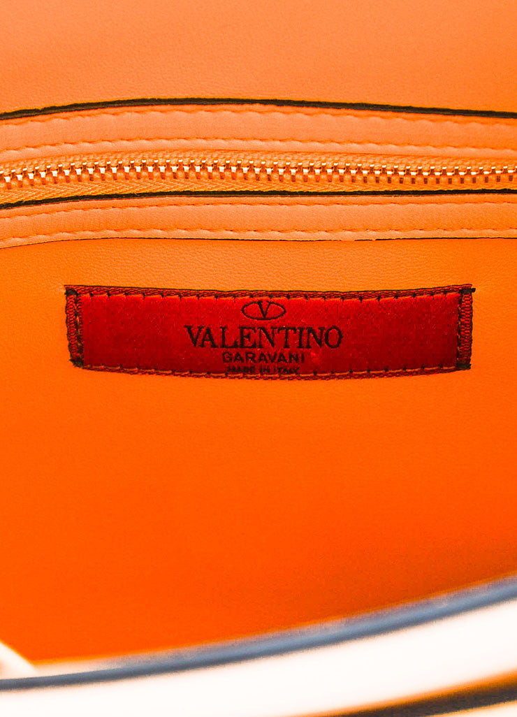 "Valentino Garavani Orange Leather Striped ""My Rockstud"" Satchel Bag Brand"