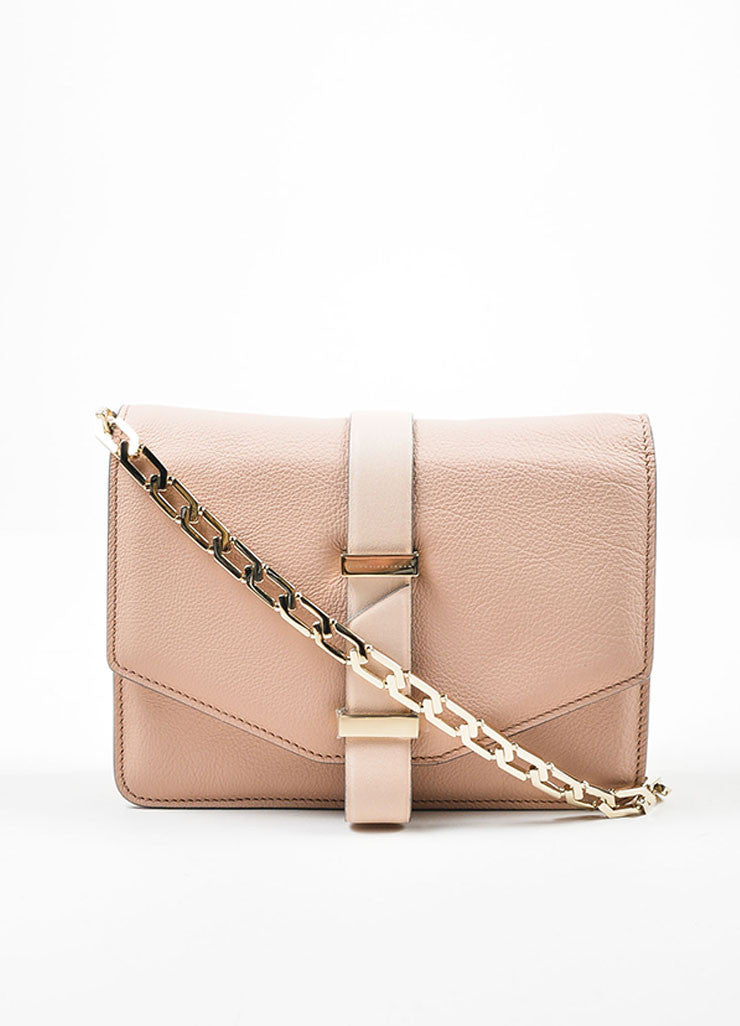 Victoria Beckham Pink Nude Leather Mini Chain Satchel Bag Frontview