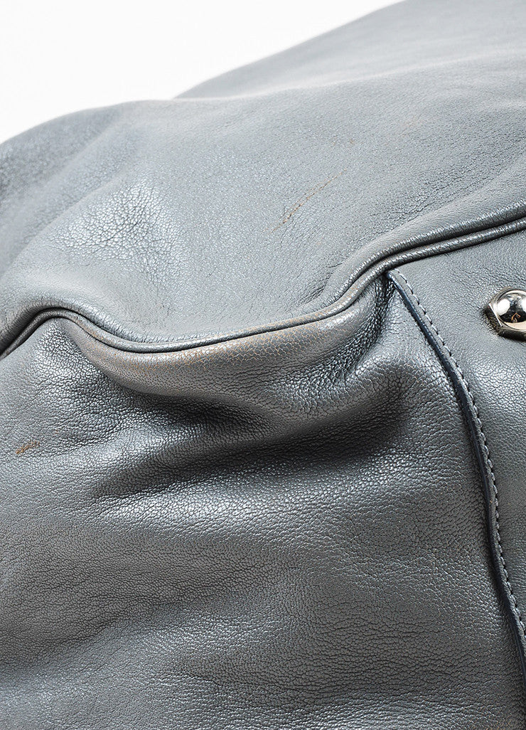 "Yves Saint Laurent Grey Leather Stingray Handle ""Roady"" Hobo Bag Detail"