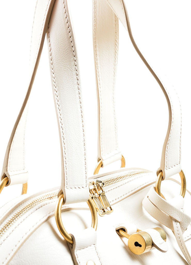 "Yves Saint Laurent Cream ""Muse"" Shoulder Bag Handles"