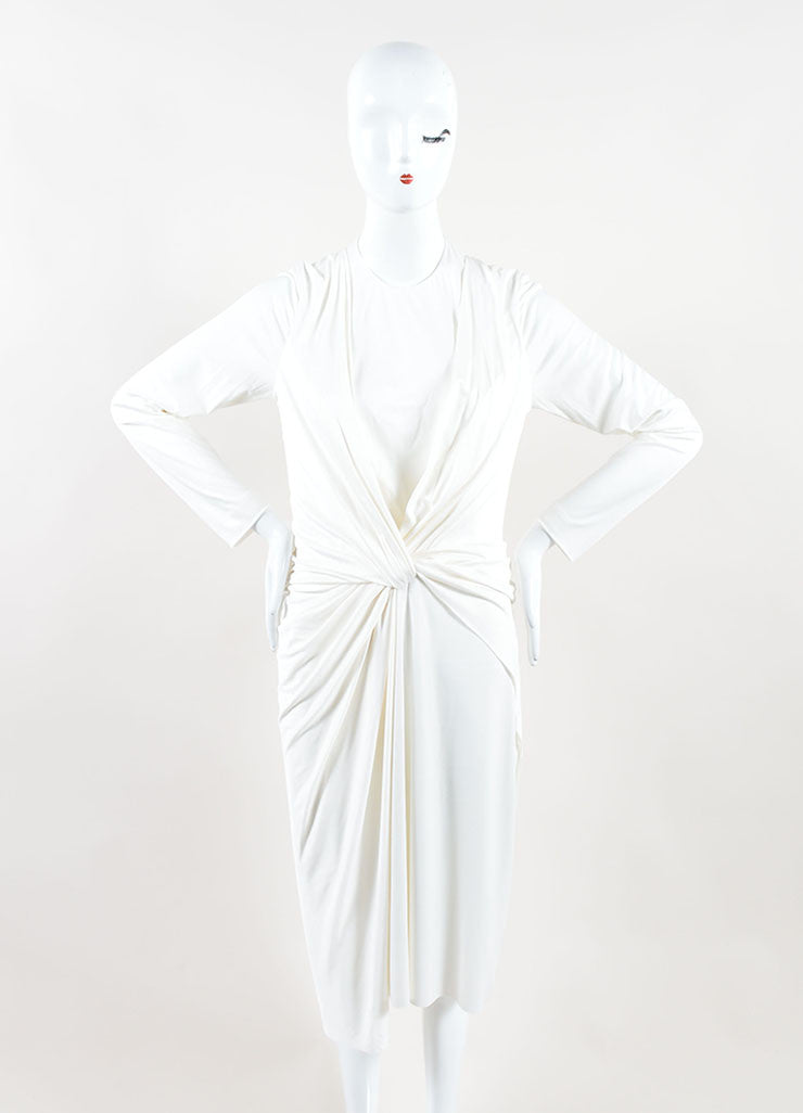 Alexander Wang White Jersey Twist Front Halter Neckline Dress Frontview