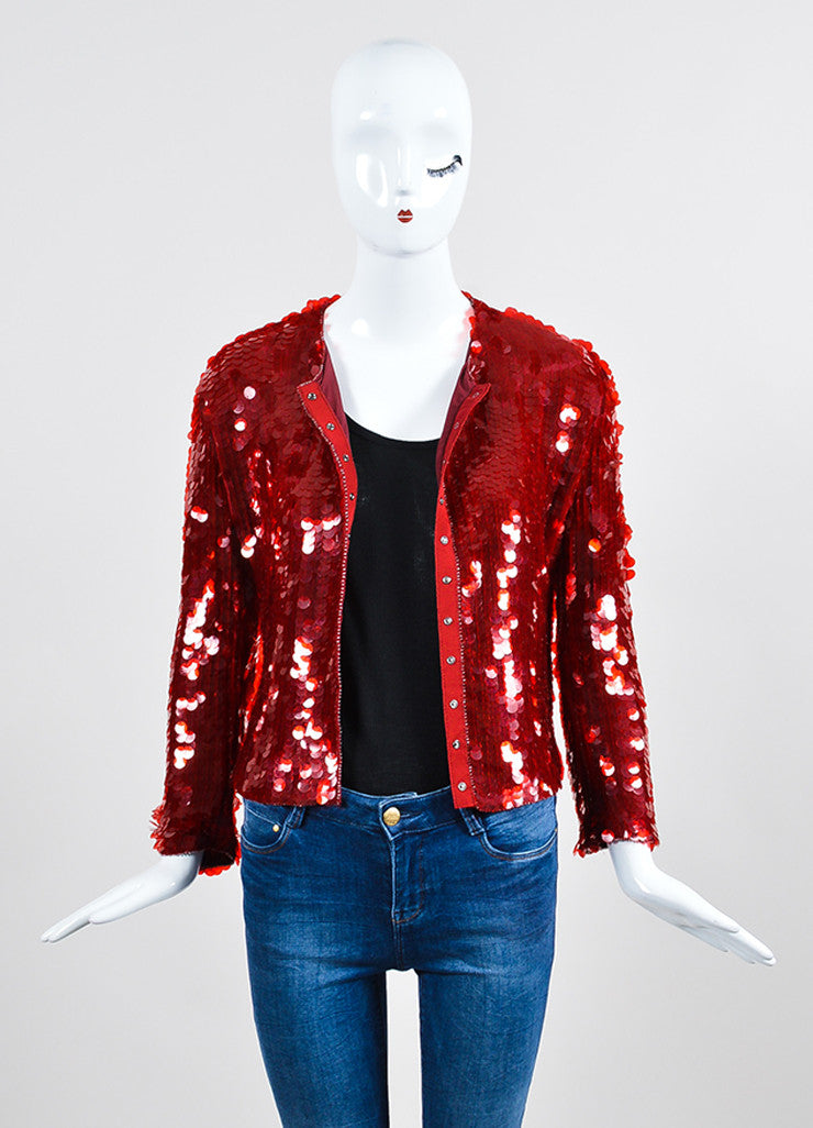 Red Armani Collezioni Sequin Paillette Snap Front Jacket Frontview