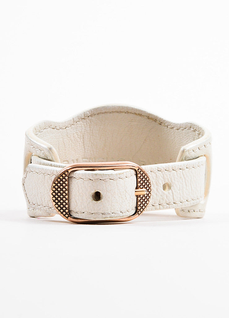 "Balenciaga White and Rose Gold Toned Leather ""Arena Giant"" Buckle Bracelet Backview"