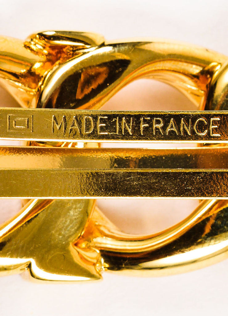 Gold Toned Chanel Loop Link Chain Logo Hair Barrette Detail 2