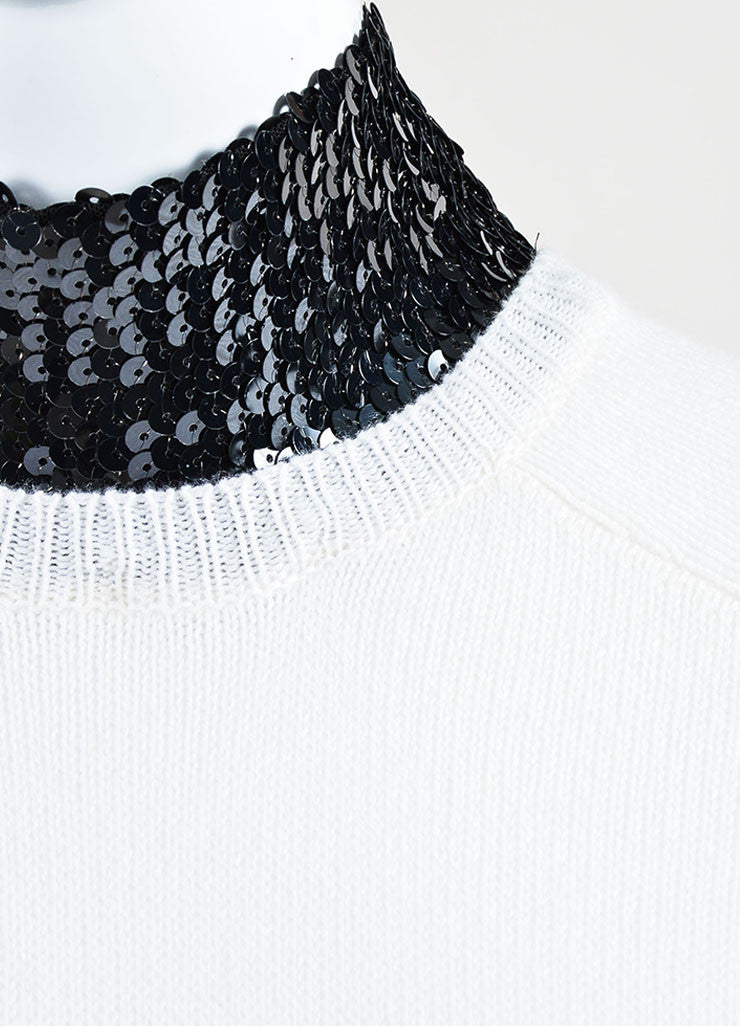 Cream and Black Christian Dior Cashmere Sequin Collar Sweater Dress Detail