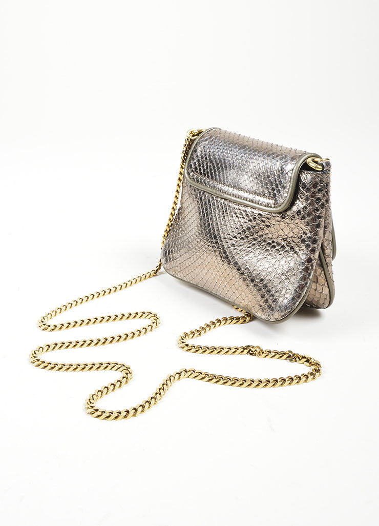 "Gold Toned and Silver Metallic Python Leather Gucci ""1973"" Small Crossbody Bag Sideview"