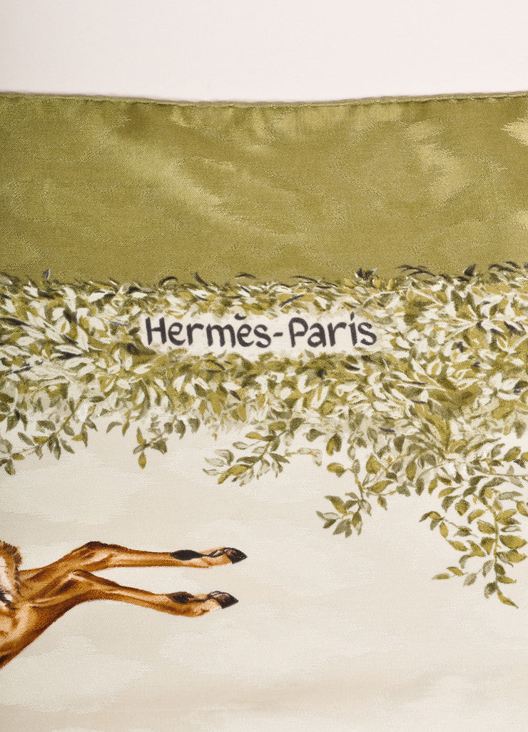 "Hermes Green and Brown Silk Lion and Antelope Print ""Kenya"" Scarf Brand"