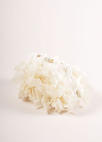 Judith Leiber Cream Floral Ruffle Chain Strap Clutch Bag Sideview