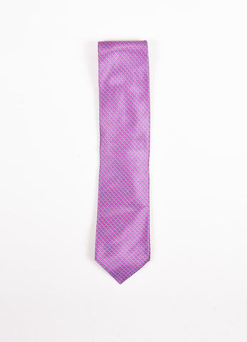 Men's Brioni Purple and Grey Silk Chain Print Necktie Frontview 2