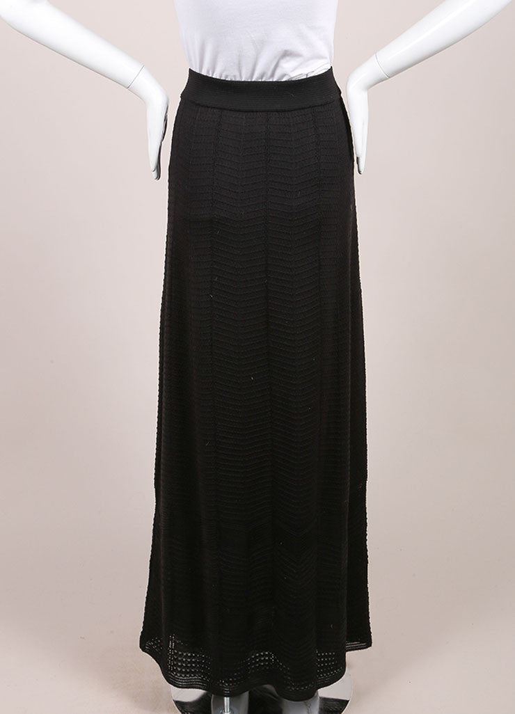 M Missoni Black Textured Wool Blend Knit Maxi Column Skirt Backview
