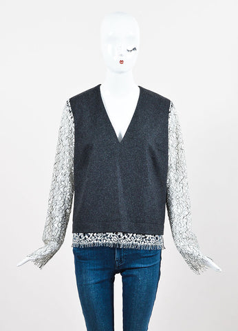 Marissa Webb Grey and White Wool Lace Detail Split Neck Long Sleeve Top Frontview
