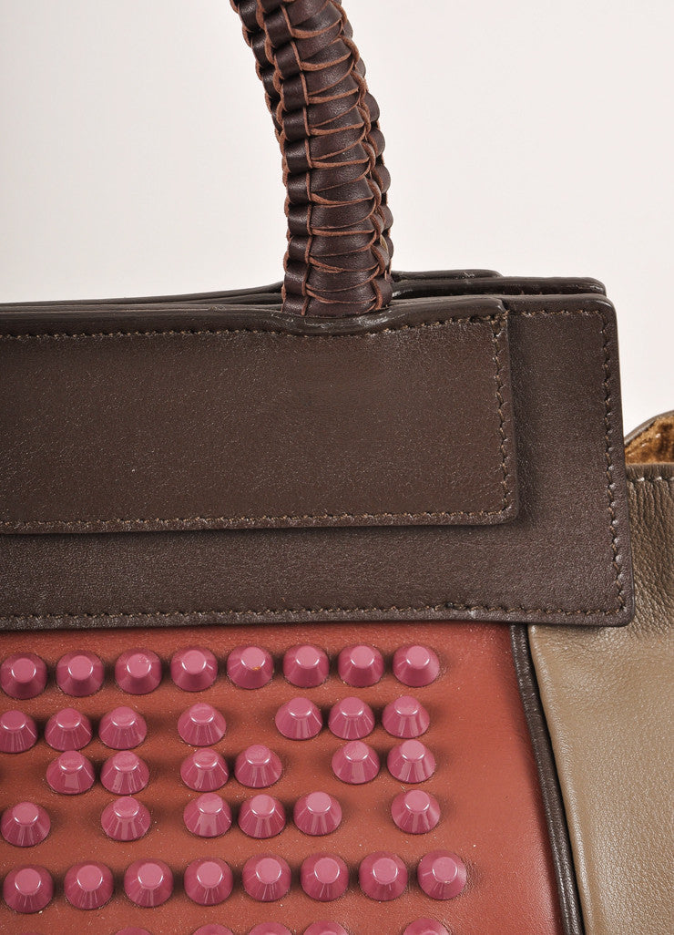 "Nada Sawaya New With Tags Brown and Purple Studded Leather ""Mini Josy"" Satchel Bag Detail 2"