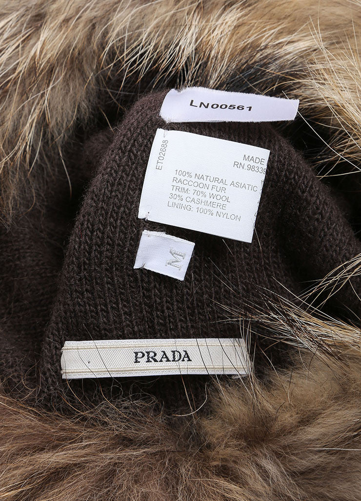 Prada Brown and Black Raccoon Fur, Wool, and Cashmere Knit Cossak Cappello Hat Brand