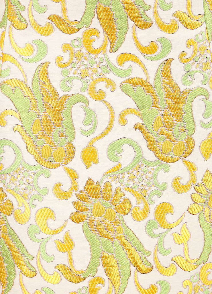 Prada Cream, Green, and Yellow Cotton and Silk Brocade Short A Line Skirt Detail