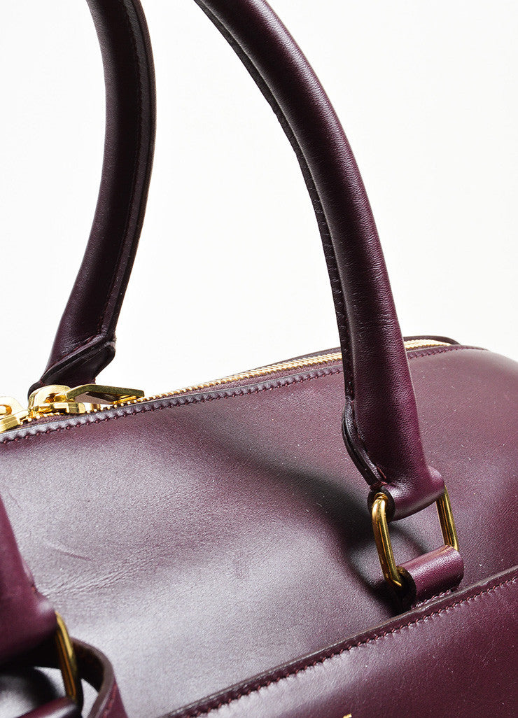 "Burgundy Leather Saint Laurent ""Classic Duffle 12"" Satchel Bag Detail 2"