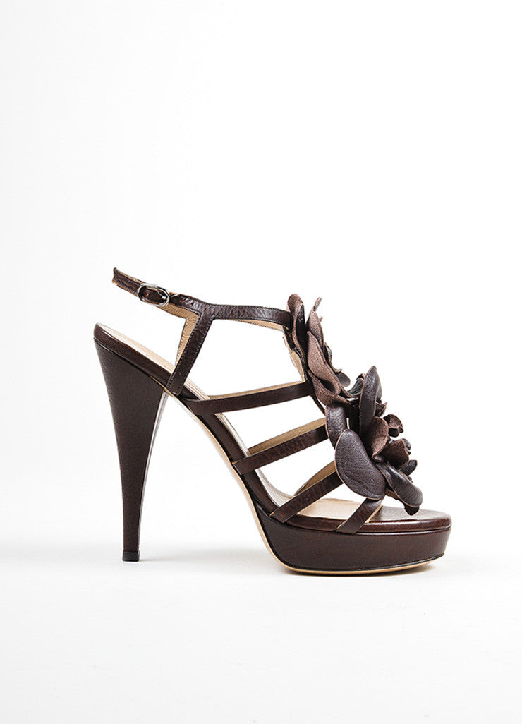 Brown Valentino Leather Oversized Flower Strappy Ankle Strap Sandals Sideview