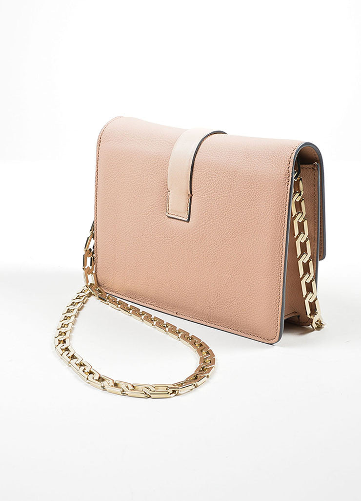 Victoria Beckham Pink Nude Leather Mini Chain Satchel Bag Sideview