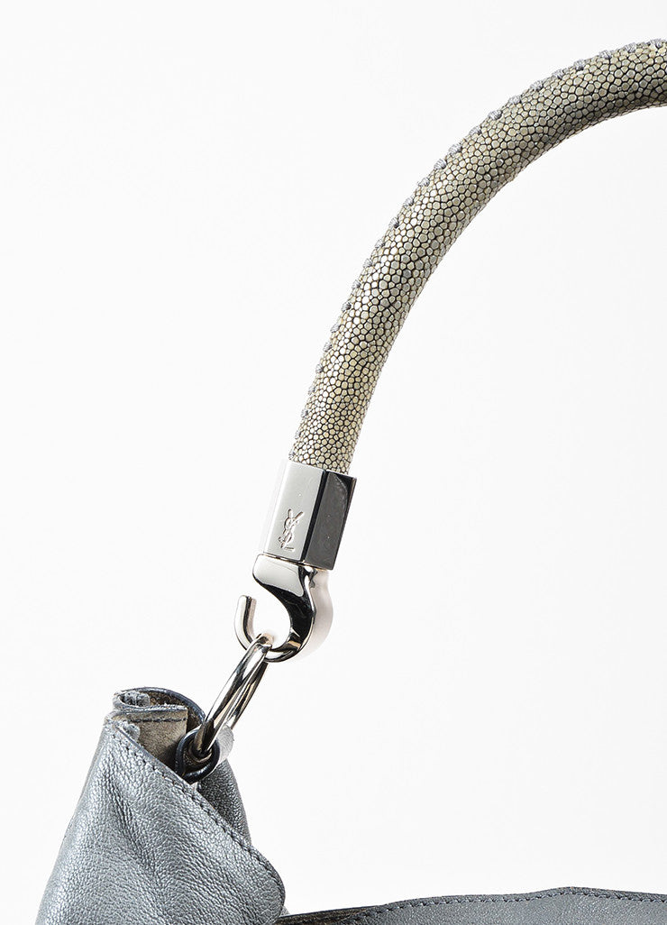 "Yves Saint Laurent Grey Leather Stingray Handle ""Roady"" Hobo Bag Detail 2"