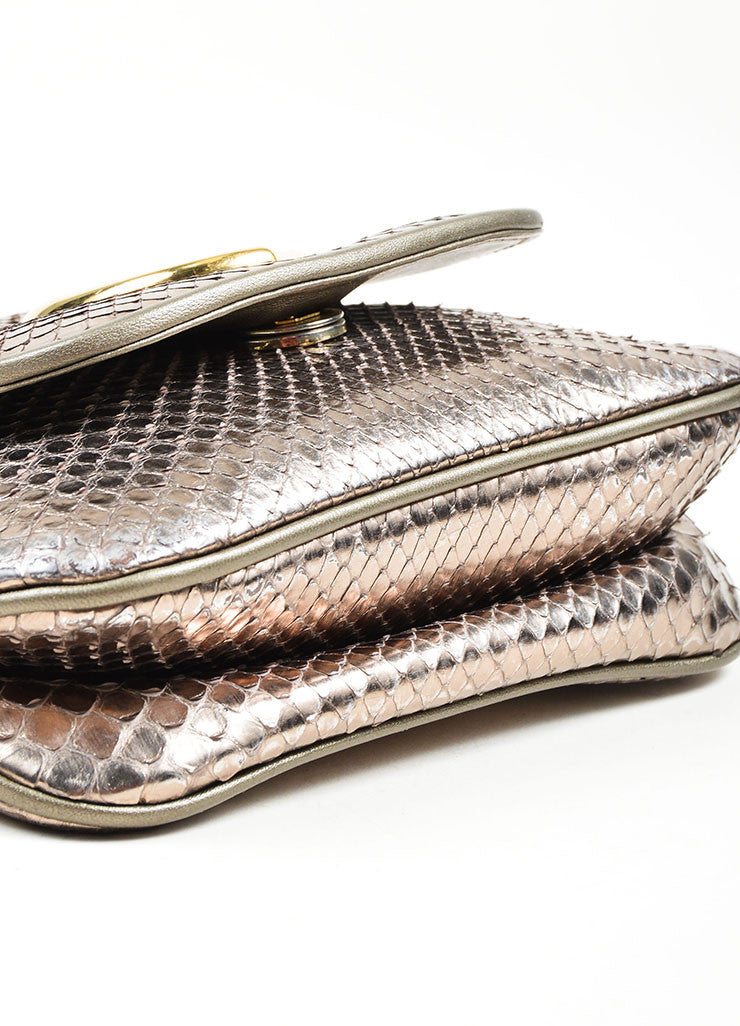 "Gold Toned and Silver Metallic Python Leather Gucci ""1973"" Small Crossbody Bag Bottom View"