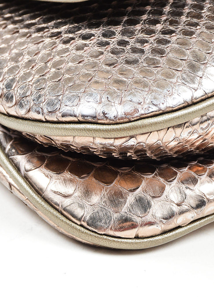 "Gold Toned and Silver Metallic Python Leather Gucci ""1973"" Small Crossbody Bag Detail"