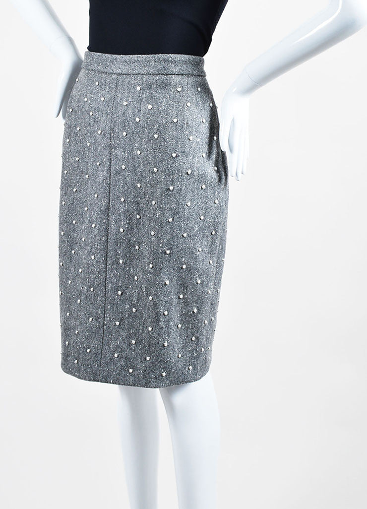 Grey Wool Adam Lippes Faux Pearl Studded Embellished Pencil Skirt Sideview