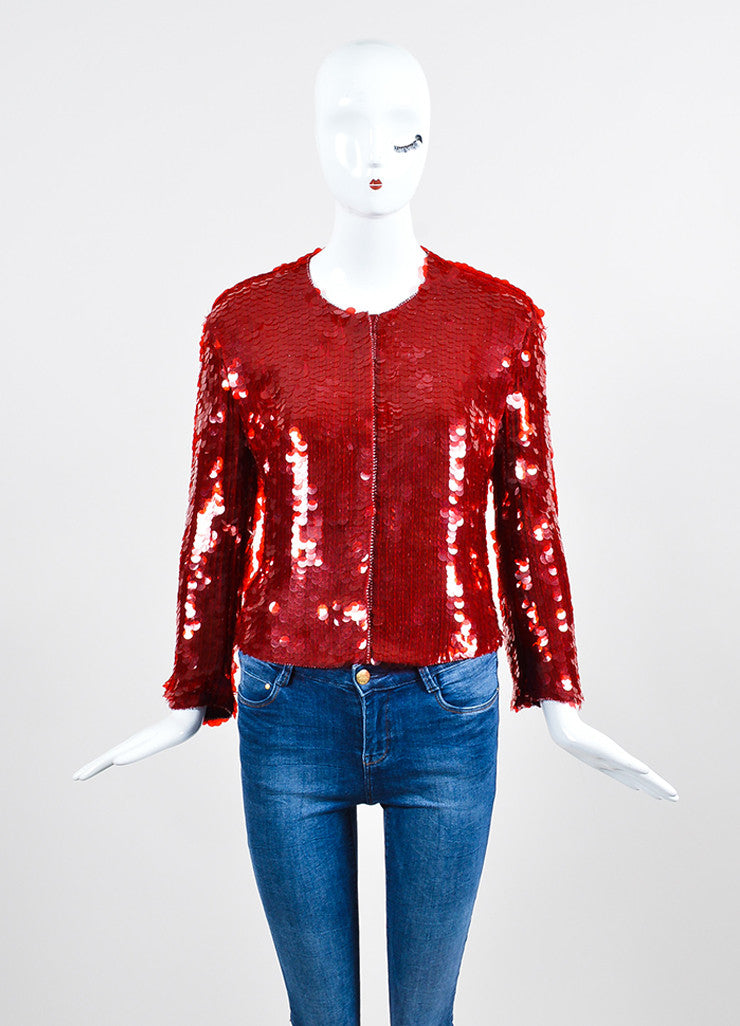 Red Armani Collezioni Sequin Paillette Snap Front Jacket Frontview 2