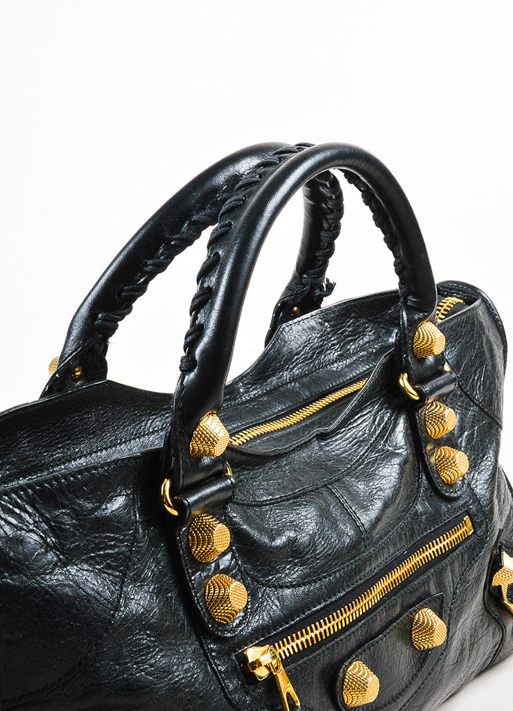 "Black Balenciaga Distressed Lambskin Leather ""Giant 21 Part Time"" Bag Detail 3"