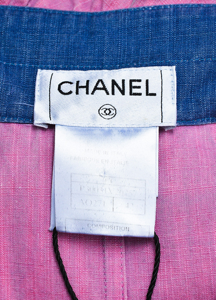 Chanel Blue Pink Cotton Denim Ruffle Frayed Edge Button Up A-Line Top Brand