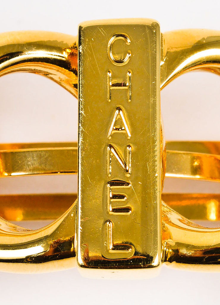 Gold Toned Chanel Loop Link Chain Logo Hair Barrette Brand