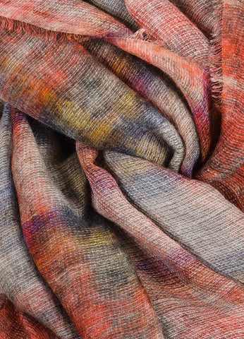 Chanel Red, Grey, and Navy Modal and Mohair Watercolor Tartan Plaid Large Frayed Scarf Detail