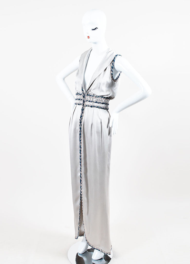 Chanel Silver Silk Whipstitch Trim Shawl Collar Sleeveless Gown Sideview